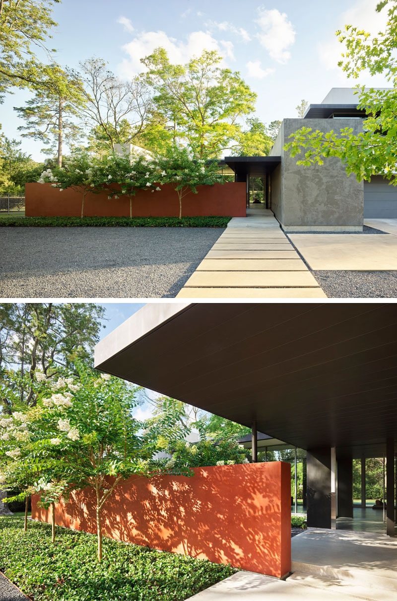 Ehrlich Yanai Rhee Chaney Architects has designed a modern house on a two-acre wooded site in an upscale neighborhood in Houston, Texas. #ModernHouse #Path #Architecture