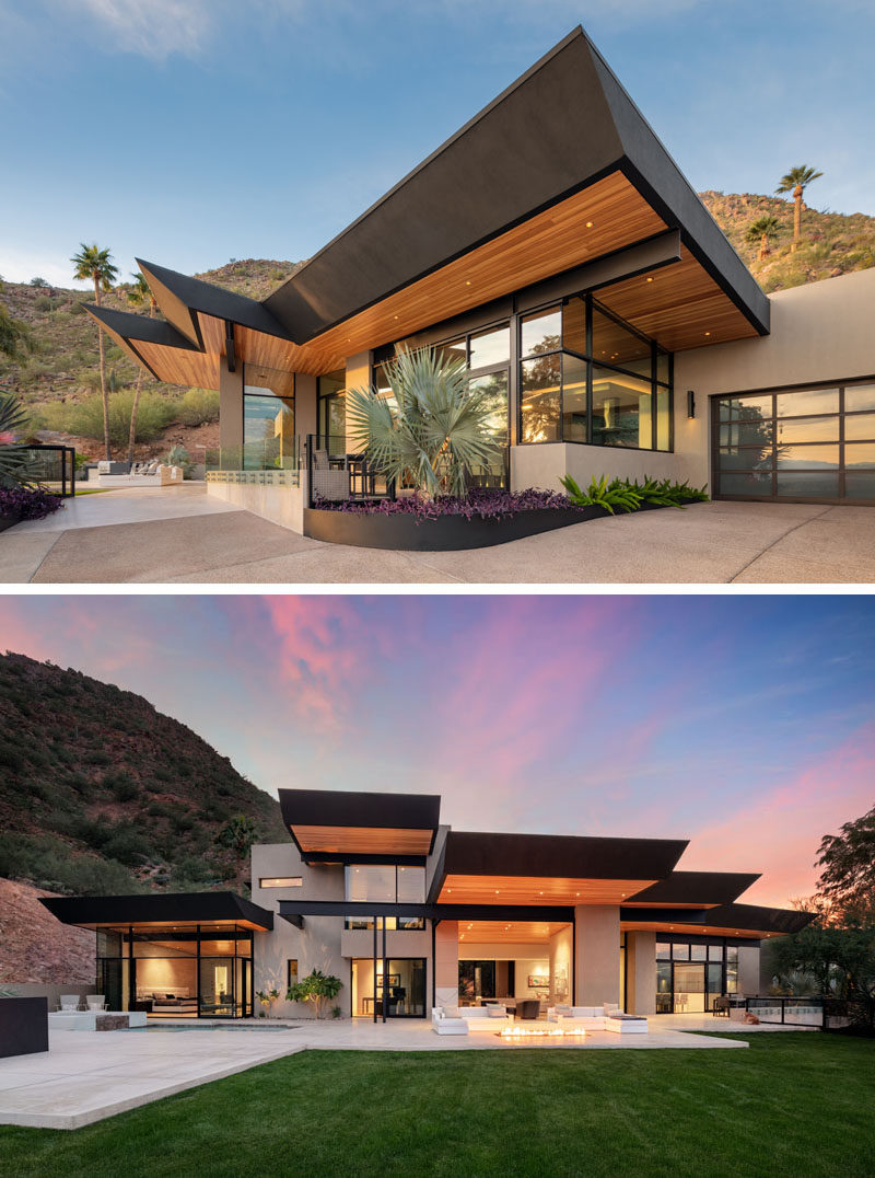Kendle Design Collaborative have completed a home in Paradise Valley, Arizona, that features angled ceiling planes that radiate out towards the expansive city and mountain views while also defining the various volumes of the home. #ModernArchitecture #ModernHouse
