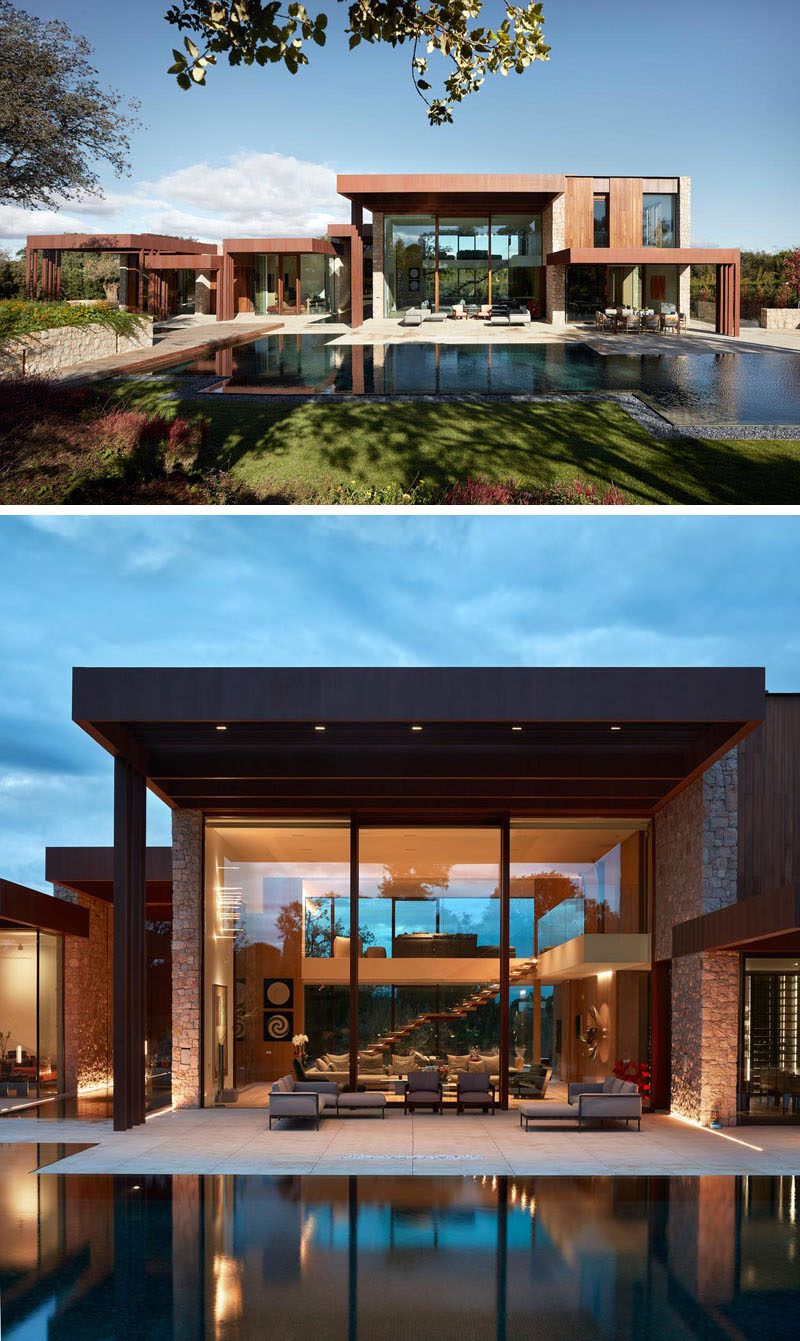The design of this modern house is made up of several boxes that are extended by Cor-Ten steel canopies, creating a large terrace that connects to a swimming pool. #ModernHouse #SwimmingPool