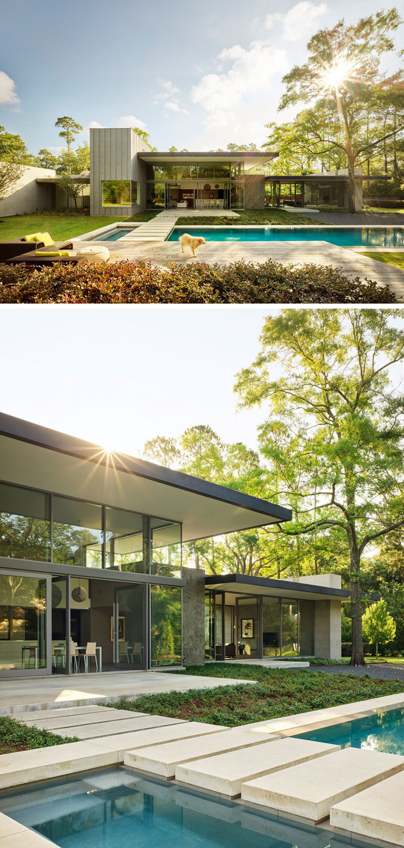 This modern house has been designed with large expanses of glass alternating with masses of Texas limestone, and the backyard has a swimming pool and plenty of space to relax. #ModernHouse #SwimmingPool #Landscaping