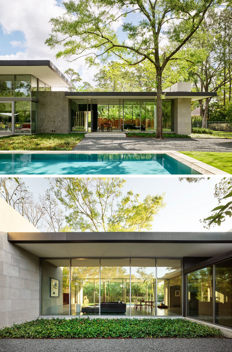 Horizontal roof planes with deep overhangs were used in the design of this modern house to mitigate sun and heavy rains. #HouseDesign #ModernHouse #Architecture