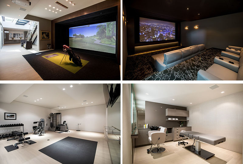 This modern house includes a full gym and weight room, a salon with massage table and full bath with steam shower, a golf simulator, and an 8-seat home theater. #InteriorDesign