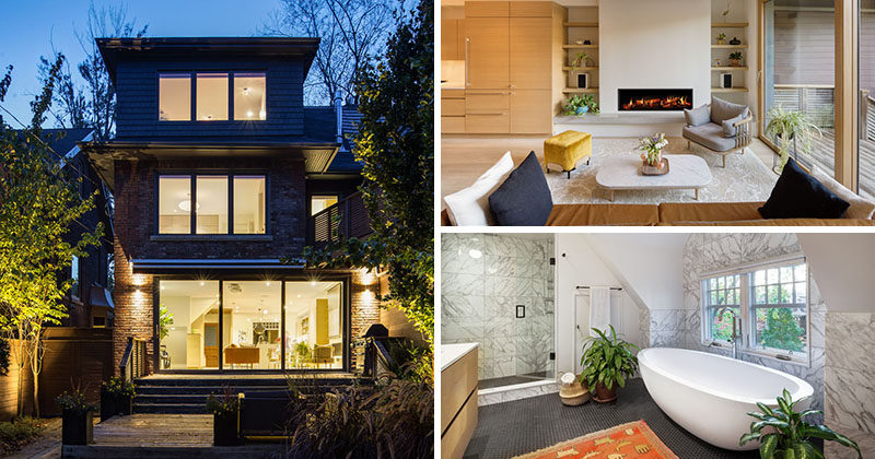 A young couple with two children approached Altius Architecture to redesign their semi-detached home in Toronto, Canada, while keeping the historic exterior. #ModernInterior #Renovation