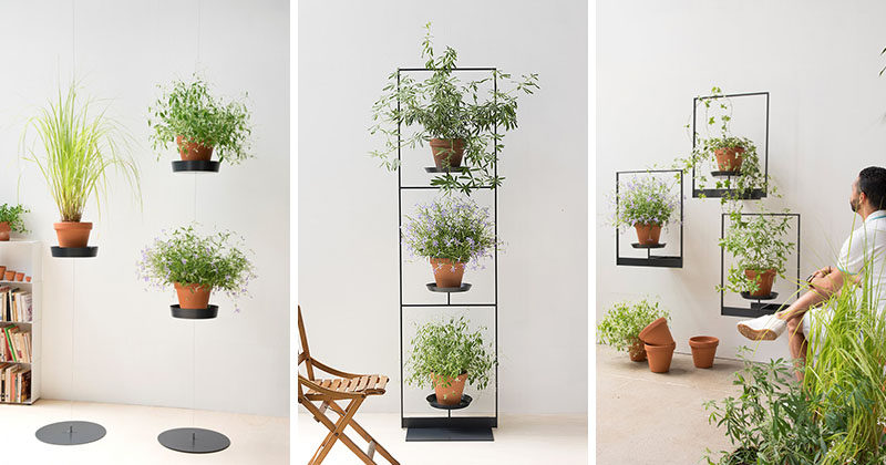 Mauro Canfori has designed Teepots, a minimalist plant shelving system. #Plants #HomeDecor #Shelving #PlantStand