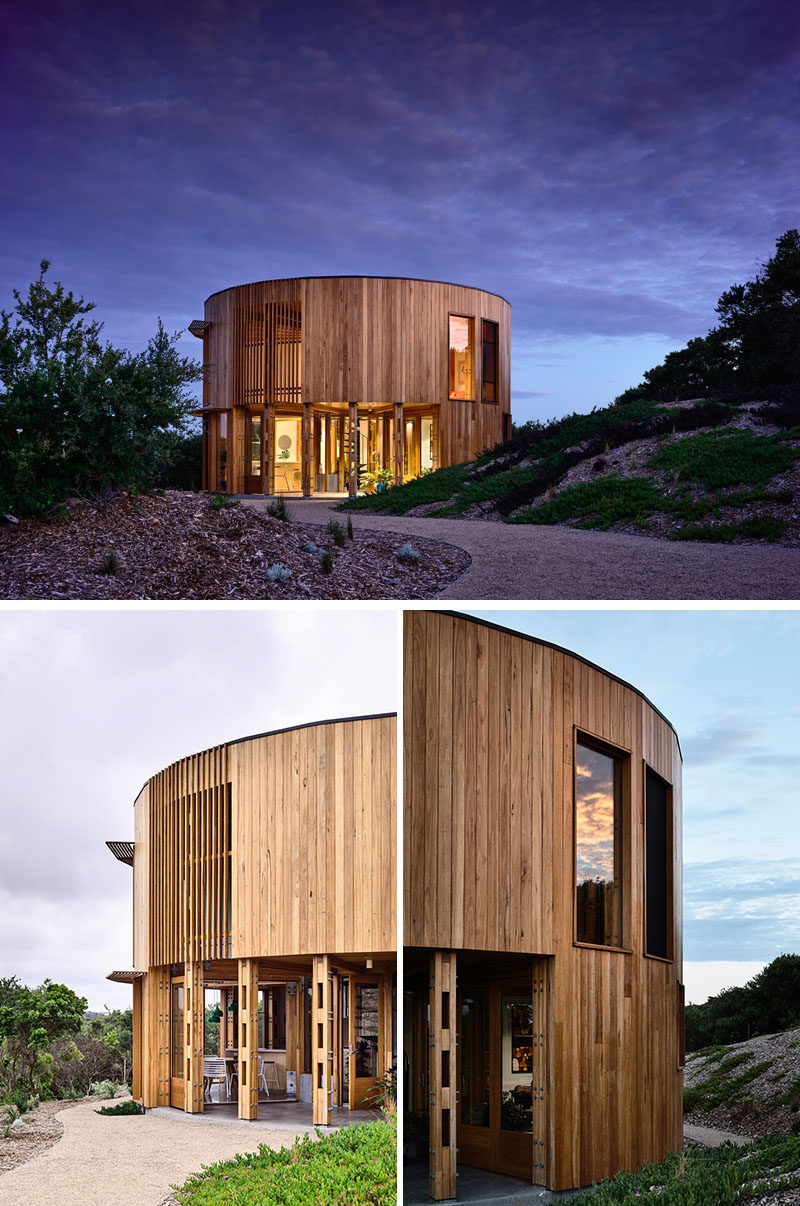 Austin Maynard Architects has recently completed the St Andrews Beach House, a two storey circular holiday home located on the Mornington Peninsula in Australia. #Architecture #HouseDesign