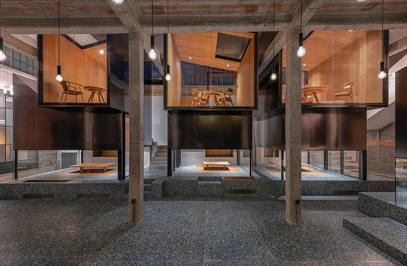 Architecture firm Linehouse, have recently completed the Tingtai Teahouse, that's located within a former factory space and art gallery in Shanghai. #Teahouse #InteriorDesign #Architecture