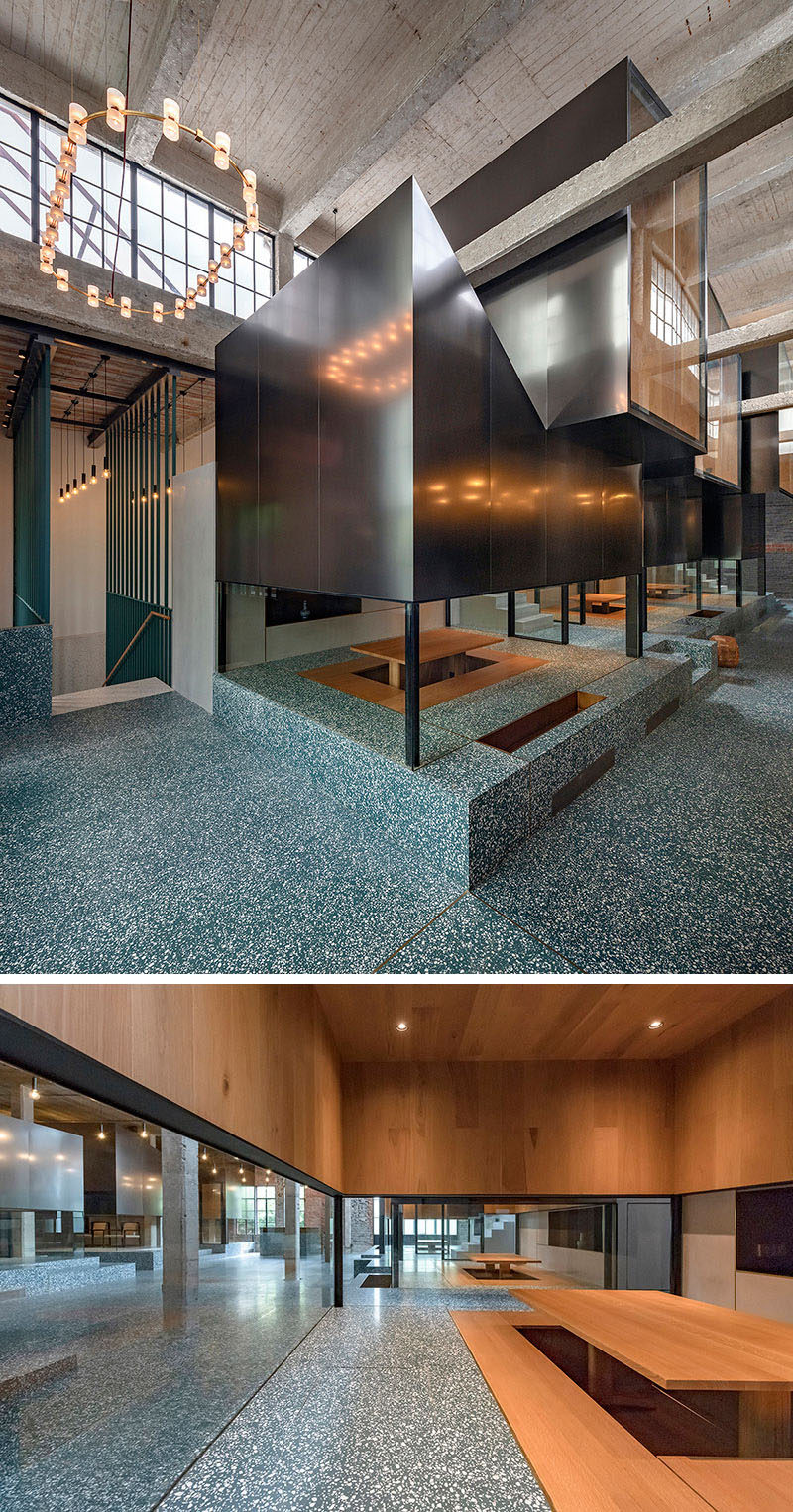 This modern teahouse has stacked rooms with smoked oak interiors, allowing small groups to have privacy to enjoy the ritual of tea. #ModernTeahouse #Architecture