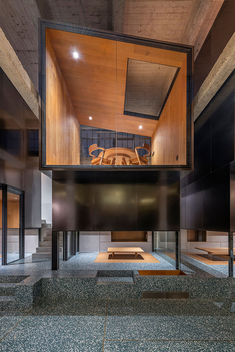 This modern teahouse has stacked rooms allowing small groups to have privacy to enjoy the ritual of tea. #ModernTeahouse #Architecture