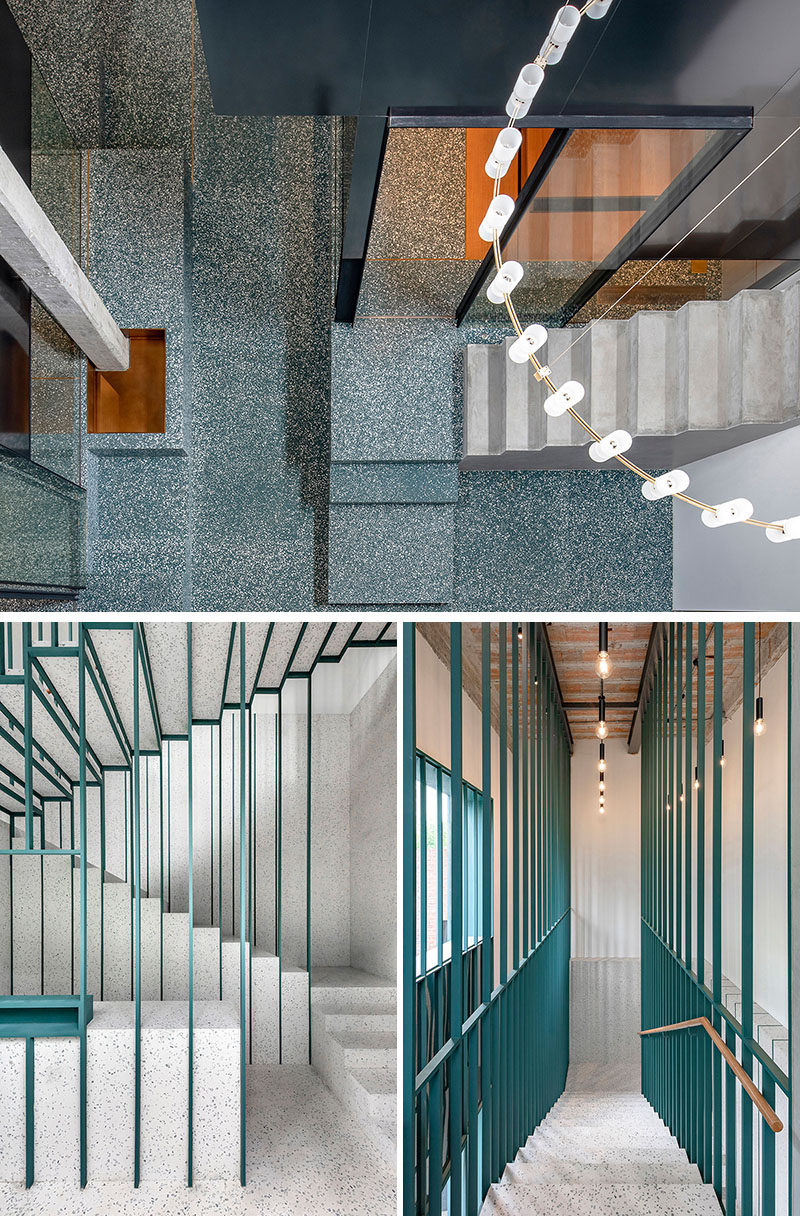 This staircase is held by a fine metal green structure, and white nougat terrazzo lining the walls and floors, takes guests to the upper floor. #Stairs #Staircase