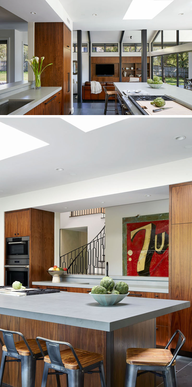 Skylights have been included in the design of this kitchen, helping to keep the space bright. #KitchenDesign