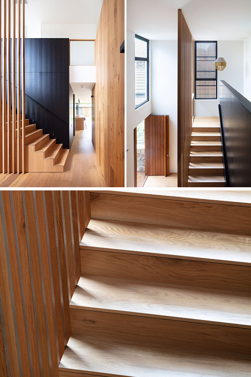 This modern wood staircase uses American Oak timber veneer in its design. #WoodStaircase #Stairs
