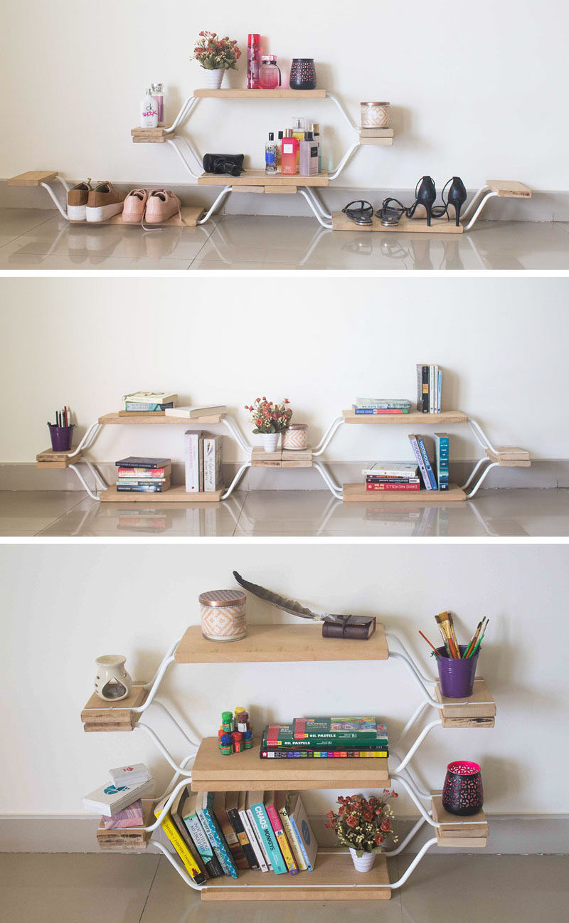 Quadraopus is a modular furniture design that can be used as a shelf bench