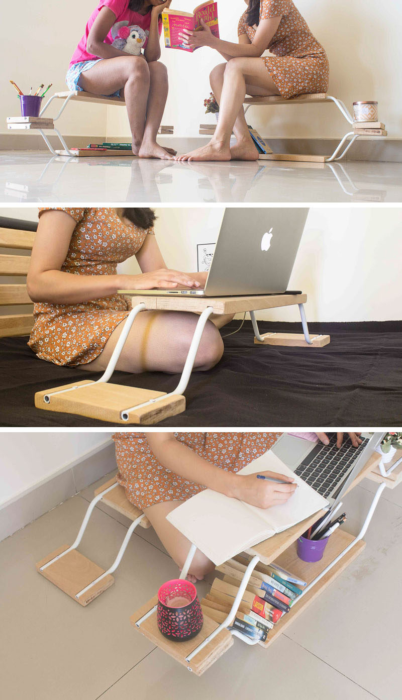 Quadraopus is a modular furniture design that can be used as a shelf, bench, storage, breakfast table, or laptop stand. #ModularFurniture #FurnitureDesign