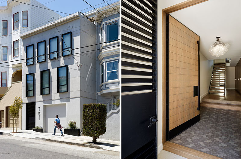 The home's front facade features cementitous panels above with stone slabs at street level, while the windows are framed with ancillary steel boxes. #Architecture #FrontDoor