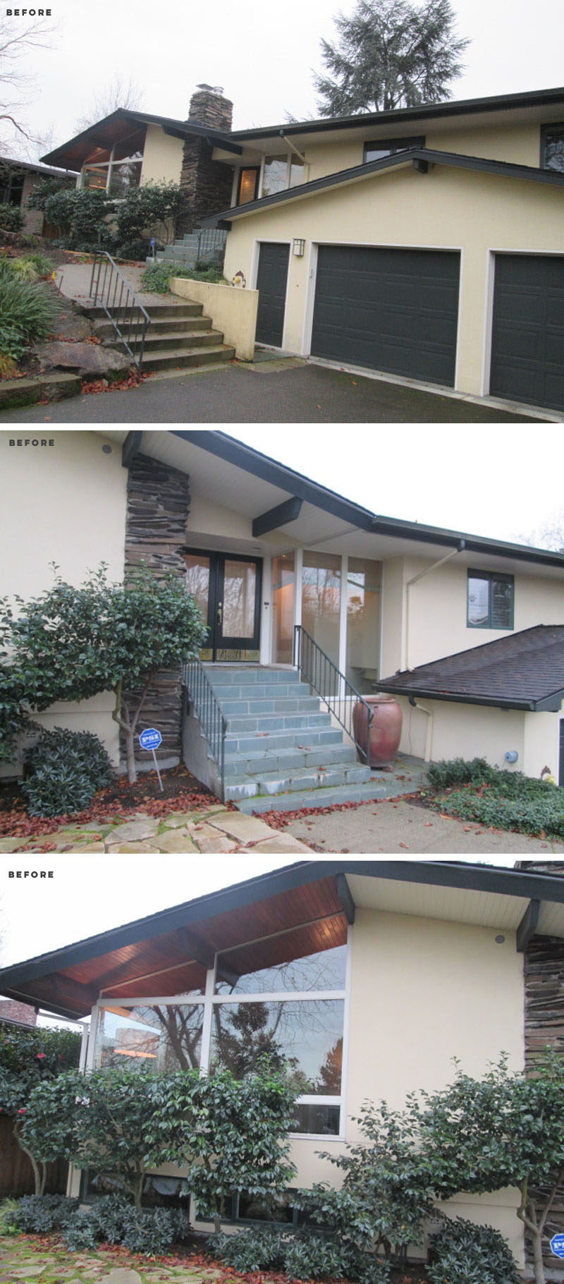 BEFORE PHOTO - Before the revitalization, the house was the recipient of many changes over the years. This is what the front of the house looked like before any work was done. Click through to see the after photos. #HouseRenovation
