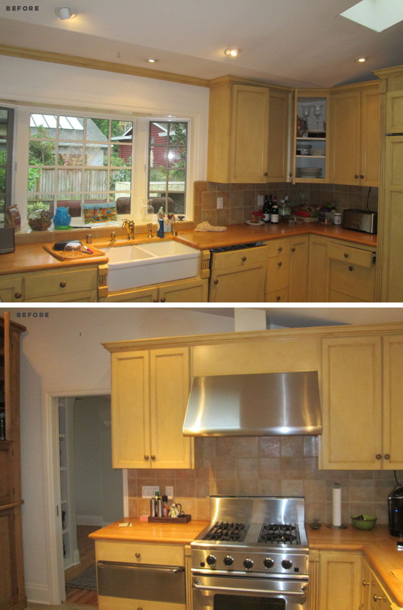 BEFORE PHOTO - This dated kitchen received a complete update, with new wood cabinets, skylights, and marbled countertops. #KitchenRenovation