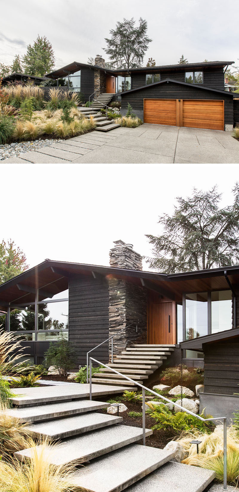 This renovated house has large concrete steps surrounded by landscaping lead up to the front door beside the stone fireplace chimney. #RenovatedHouse #UpdatedHouse #ModernLandscaping #FrontGarden