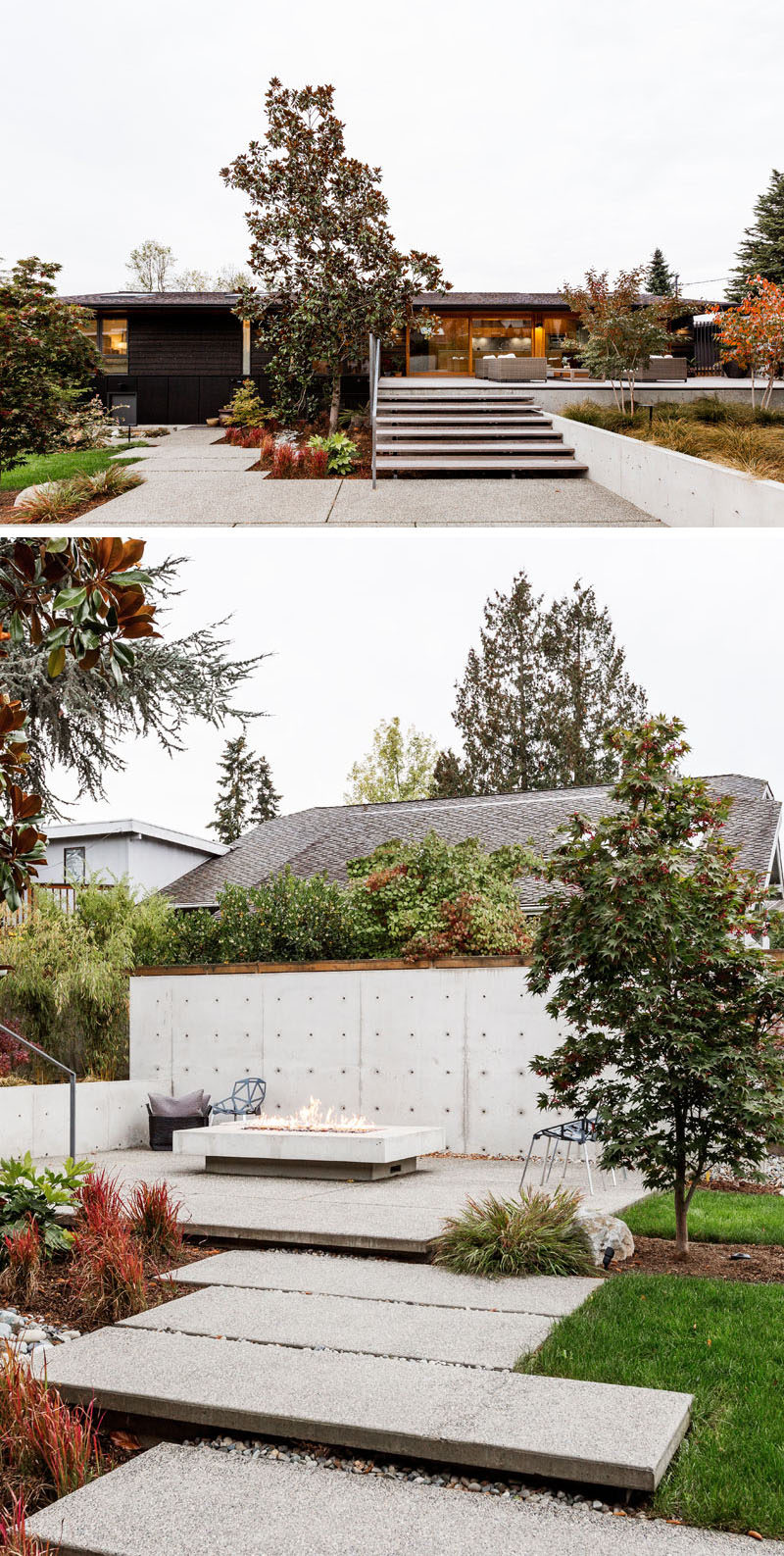 This completely updated rear garden has been landscaped, with stairs leading down from the outdoor lounge area to a path that connects to a secondary seating area with an outdoor fireplace. #ModernBackyard #LandscapeDesign