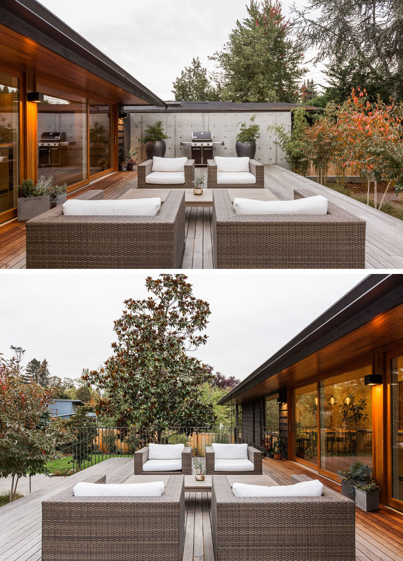 This renovated house opens up to the the patio and yard in a more direct way. Fir decking was used to create a more natural and modern appearance for the outdoor lounge. #Patio #OutdoorLounge
