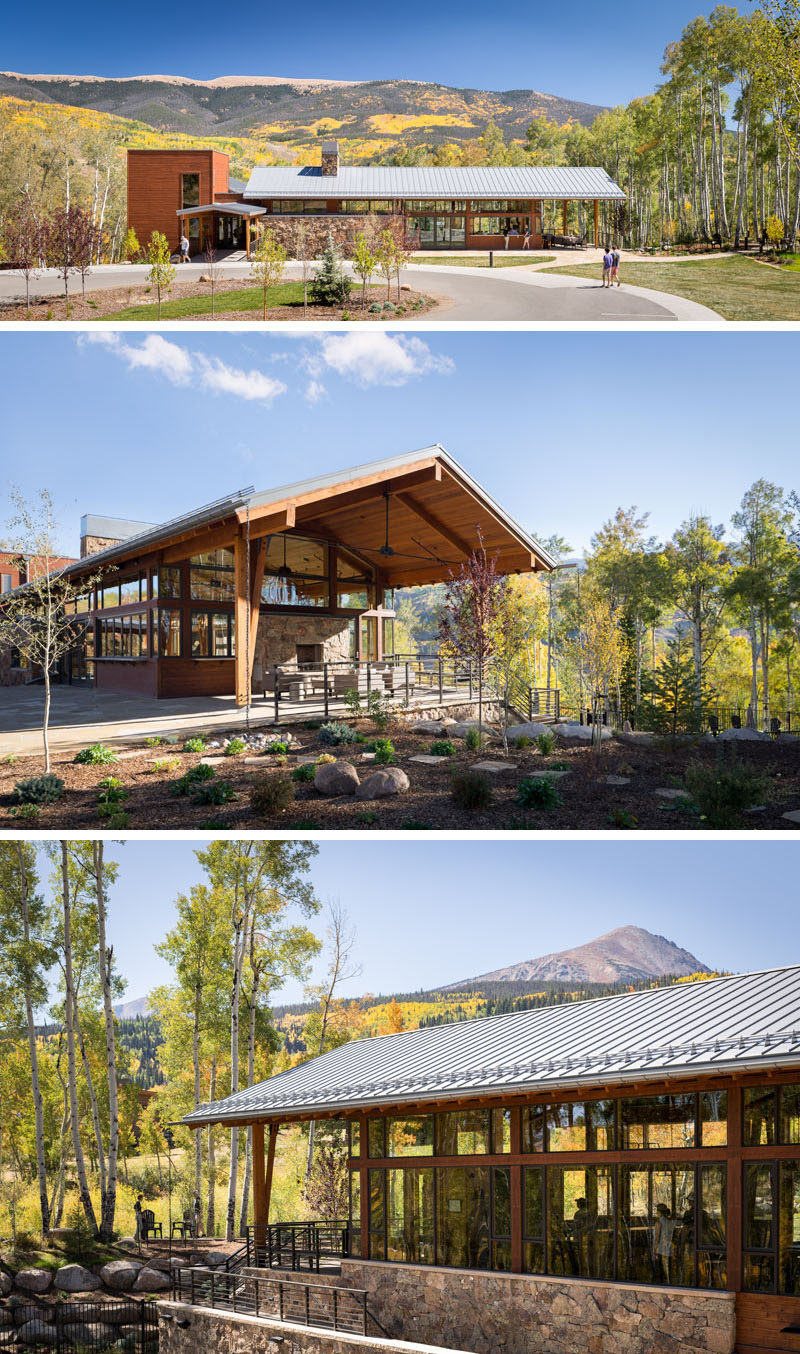 Craine Architecture has recently completed a new activity center for the Summit Sky Ranch in Silverthorne, Colorado, that features plenty of wood, stone, and glass. #Architecture #BuildingDesign