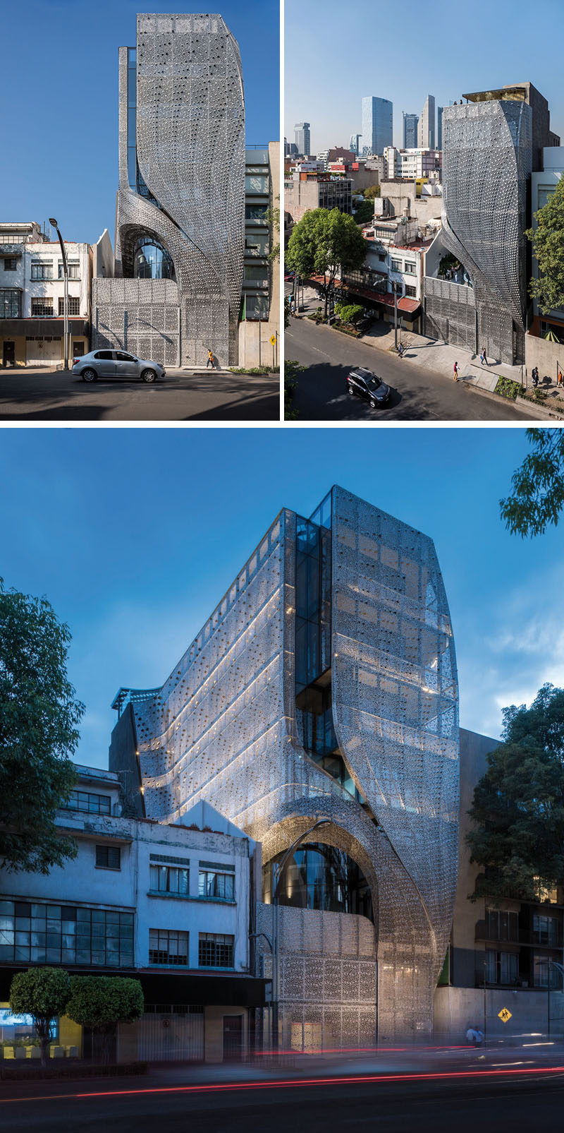 This modern office building in Mexico City, Mexico, has a perforated carbon-steel screen facade that follows the shape of the building, and has a delicate pattern that provides interior shadows and ventilation. #ModernArchitecture #ModernBuilding #BuildingFacade