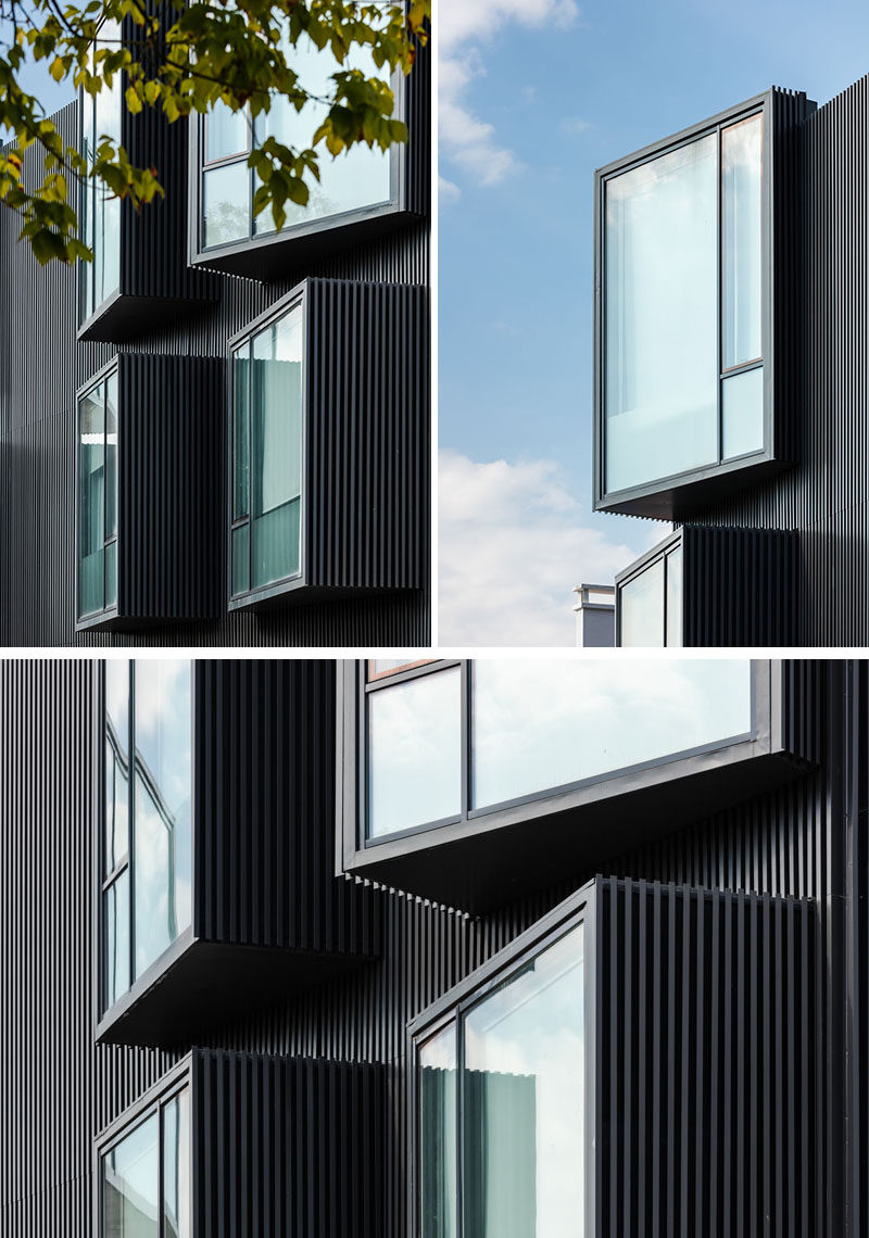 Architecture firm Nuno Piedade Alexandre has designed a elderly care home that features a black slat facade with protruding angled windows. #Architecture #Windows #BlackBuilding #BuildingDesign