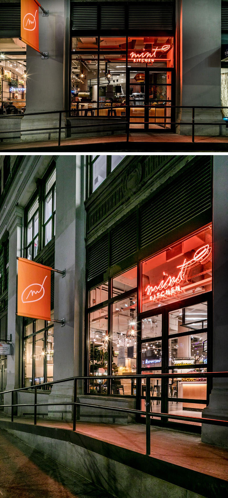 CRÈME / Jun Aizaki Architecture & Design has recently completed 'Mint Kitchen', a 50-seat Israeli fast casual restaurant, that's located in the heart of the West Village in New York. #RestaurantDesign #NeonLighting