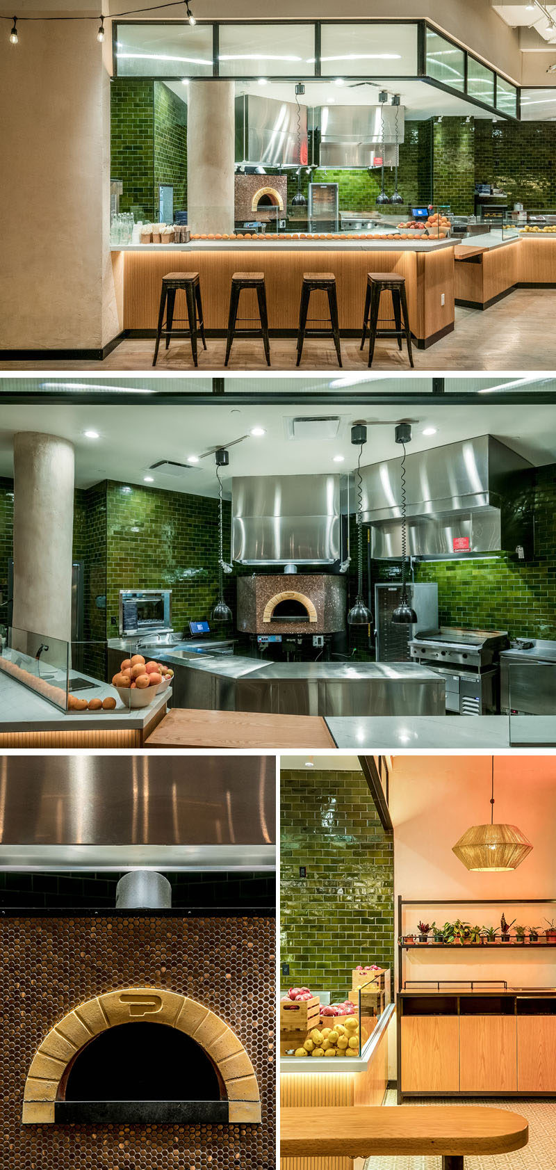 "This modern restaurant has an open kitchen layout and a copper coated Taboon Oven that acts as a focal point. The kitchen's backsplash is covered in Emerald Clear Moresque tiles, with quartz ""ZODIAQ"" London Sky countertops, and tambour wood paneled facades. #ModernRestaurant #GreenTiles"