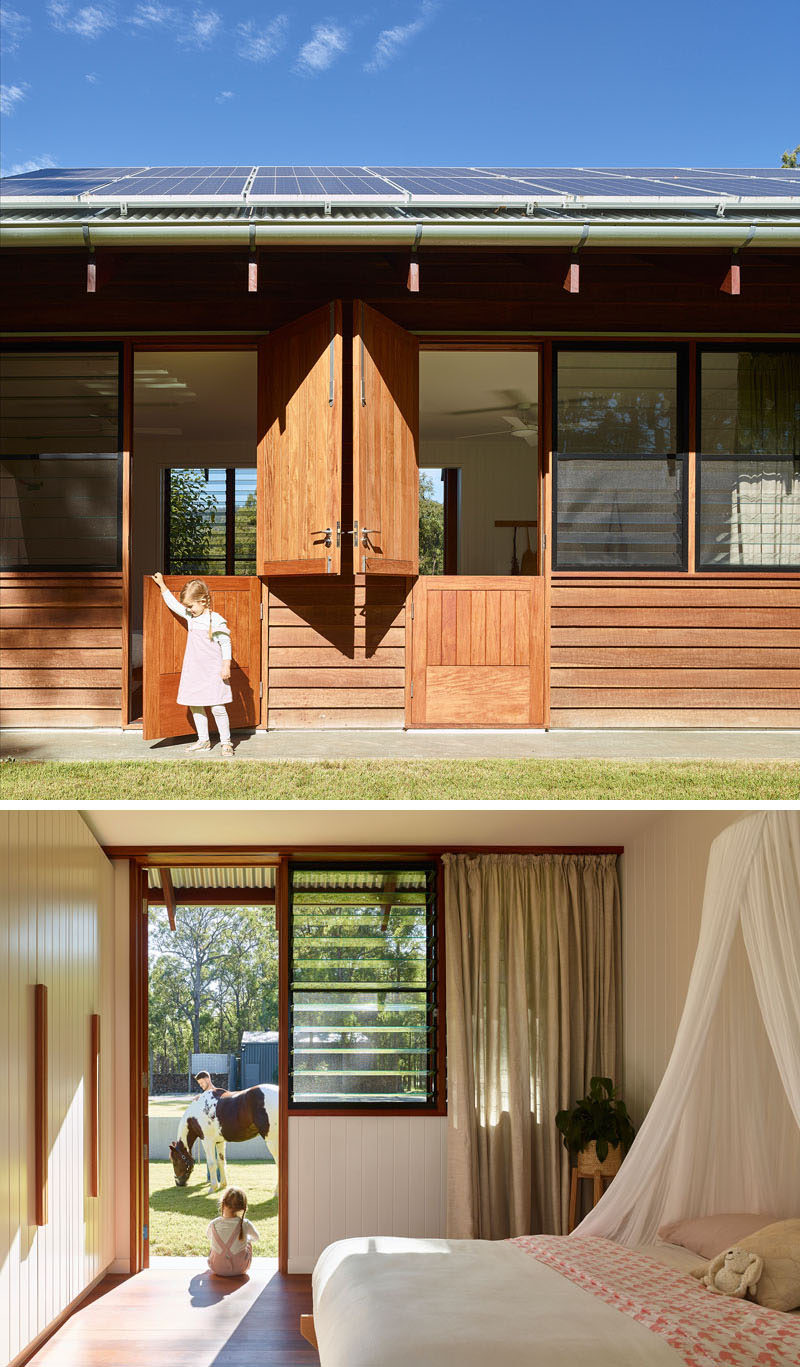 Some of the bedrooms of this modern home have a Dutch door, adding a fun farm-inspired accent to the house. #DutchDoor