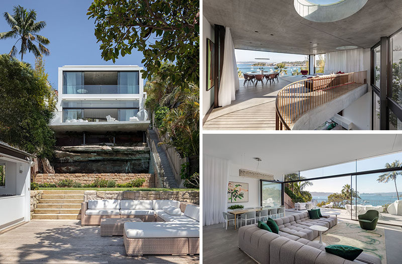 Matthew Woodward Architecture has completed the design of the Crescent House, a modern waterfront home in Vaucluse, a suburb of Sydney, Australia. #ModernHouse #Landscaping #Architecture #InteriorDesign