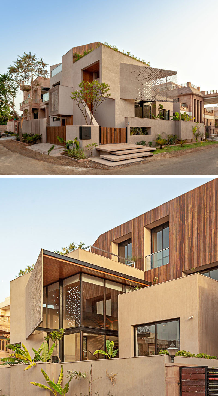 Abraham John Architects has designed the Chhavi House, a residential villa that's located on a corner lot inJodhpur, India. #ModernArchitecture #ModernHouse
