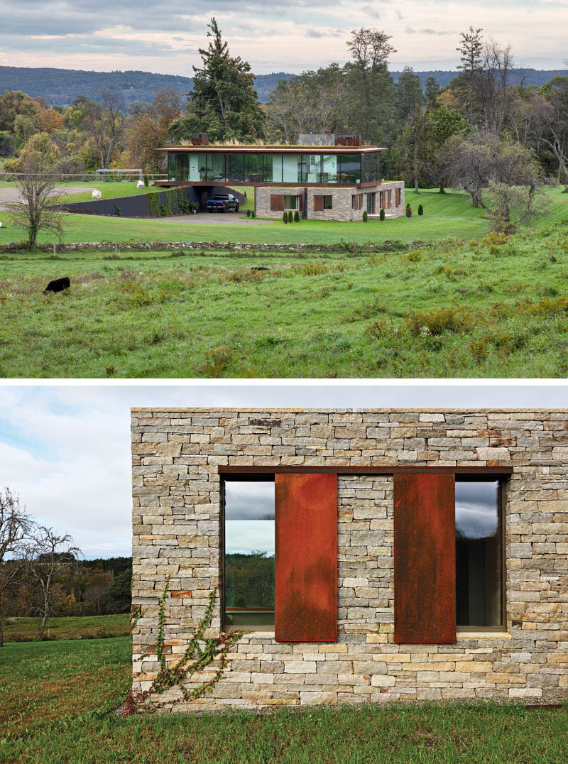 Slade Architecture have designed a new modern home in Stanford, New York, that's situated on a large 220 acre farm. #ModernHouse #Stone #ModernArchitecture