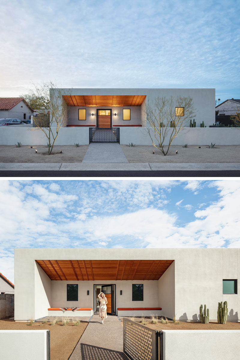 Architecture firm The Ranch Mine, has designed Weave, a modern courtyard house in Phoenix, Arizona, that draws inspiration from famed artist Georgia O'Keeffe's adobe houses and patio paintings. #ModernHouse #HouseDesign #Architecture