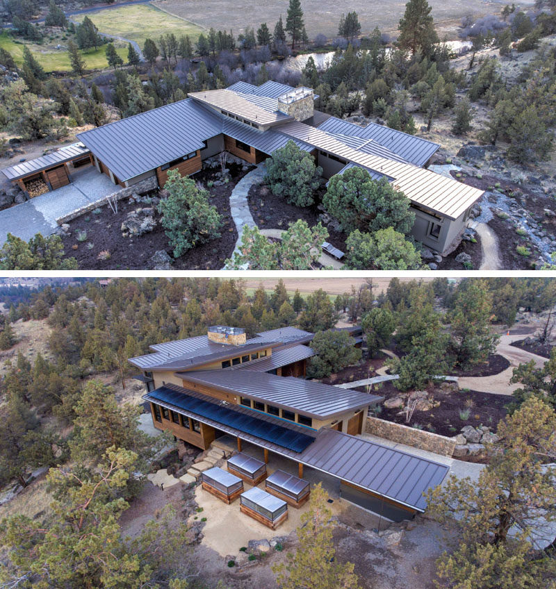 Nathan Good Architects has designed a new contemporary house that's nestled into a bluff above the scenic Deschutes River in Central Oregon. #ModernArchitecture #HouseDesign #ModernHouse