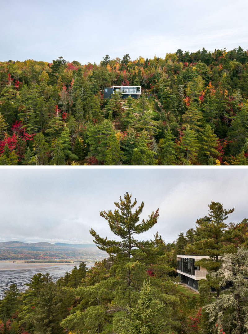 Anne Carrier architecture (AC/ a) has designed a new modern house in Cap-aux-Corbeaux, Quebec, that overlooks the St. Lawrence River. #ModernHouse #HouseDesign #ModernArchitecture