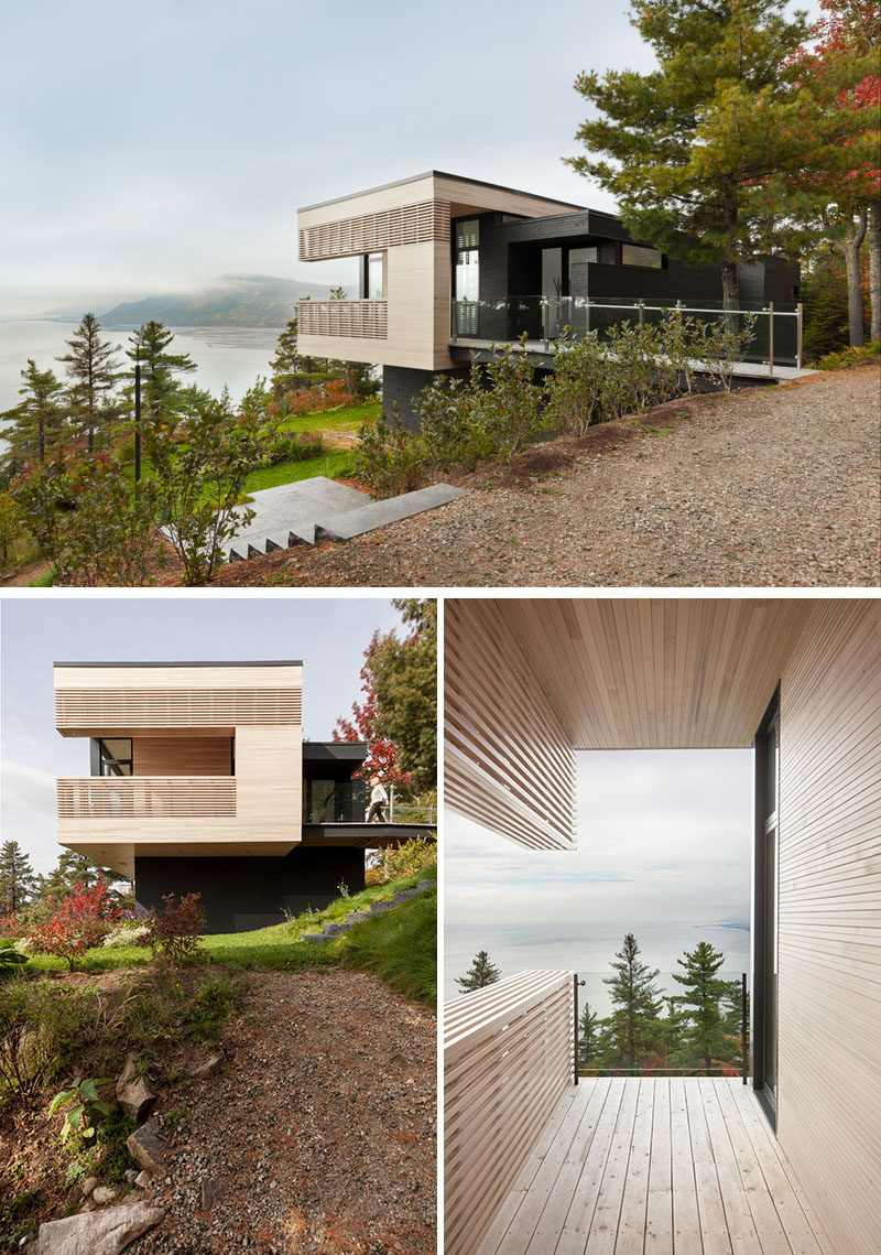 A bridge attached to this modern house invites visitors to the home, while a walkway, made of cedar, crosses the main volume toward a lookout point. #ModernHouse #ModernArchitecture