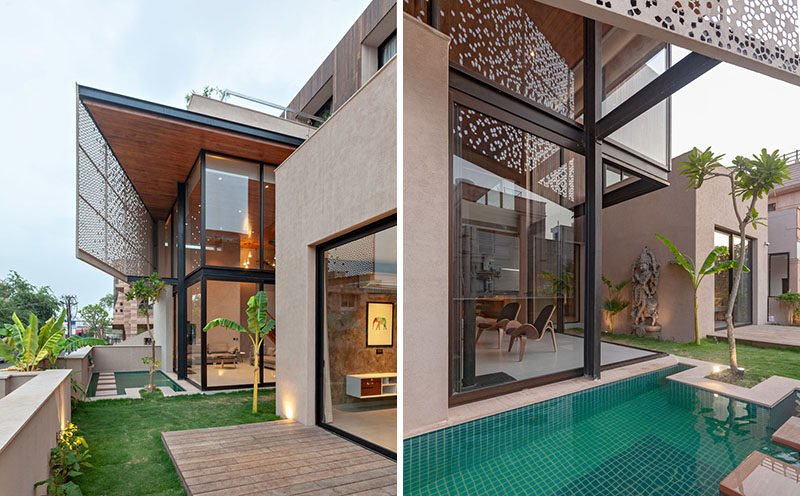 Little gardens, decks, and water features surround this modern house, creating the sense of more space, and private areas. #ModernHouse #LandscapeDesign #WaterFeature