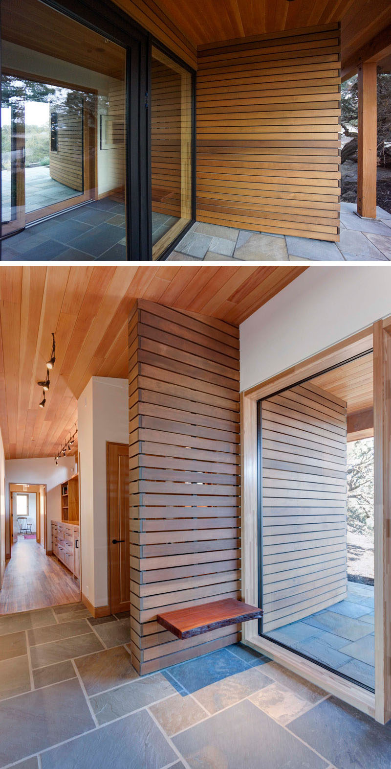 A curved entry wall escorts visitors into this home and widens to an expansive view of the valley beyond.A simple live edge wood slab serves as a bench for removing shoes upon entering the home. #Entryway #FrontDoor #Wood