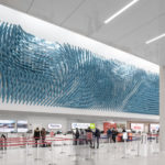 The 'Field Lines' Art Installation Covers A Large Wall At O'Hare Airport In Chicago
