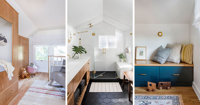 Interior design firm Casework, has updated a master bedroom suite that's located within 550 square foot of attic space in a 1912 Seattle Craftsman home. #MasterSuite #Nursery #ModernBathroom