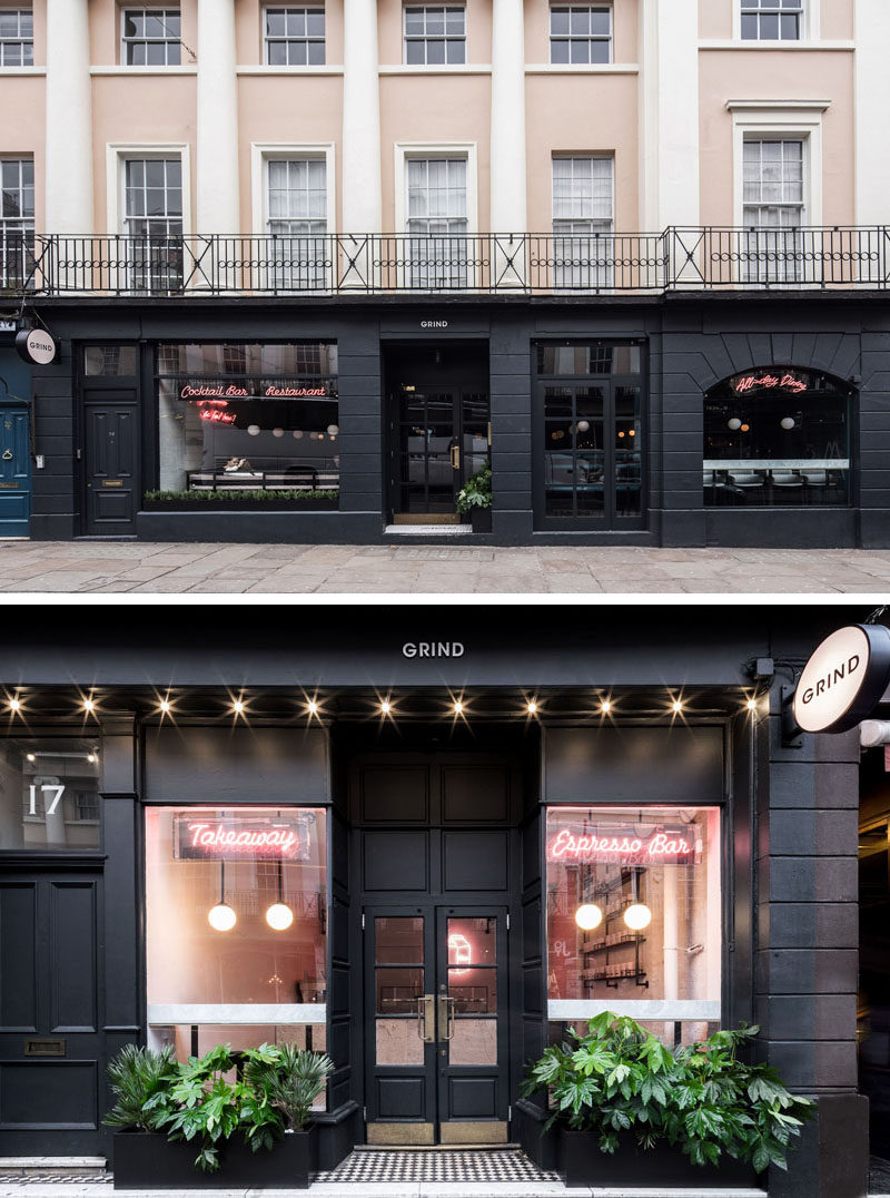 Australian based design studio Biasol has recently completed Greenwich Grind, a coffee-and-cocktail restaurant that's locatedopposite the famous Greenwich Market in London, England. #BlackRetailFacade