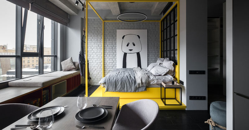 A Pop Of Color Adds A Fun Touch To This Monochromatic Apartment In Moscow