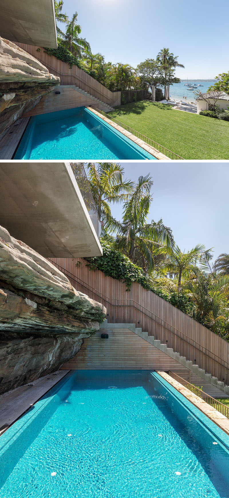 This modern tiered backyard has a swimming pool that's located beside a naturally occurring rock ledge. #SwimmingPool