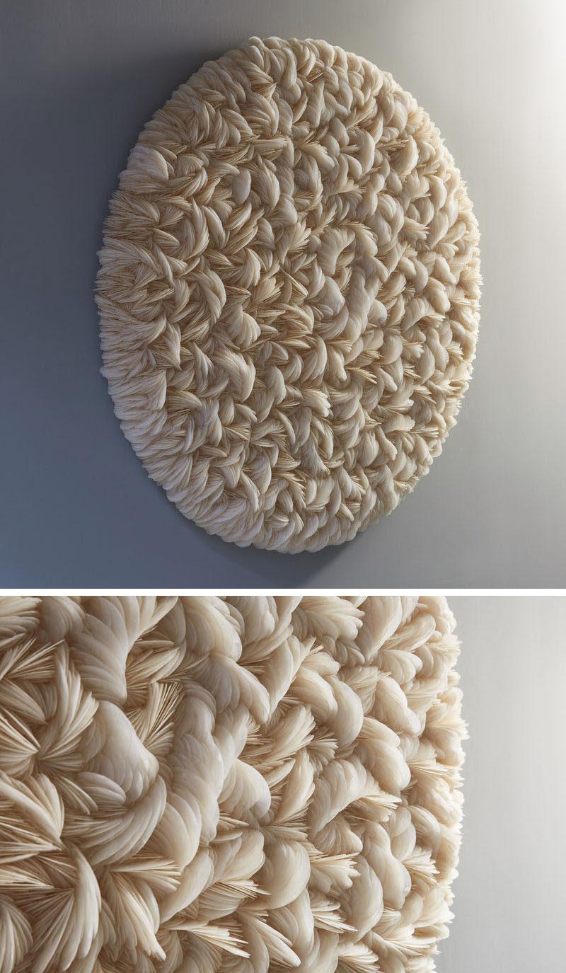 Artist Rowan Mersh, has created 'Placuna Pro Dilectione Mea II', a modern wall sculpture that's made from Capiz Shells. #Art #Sculpture #WallArt