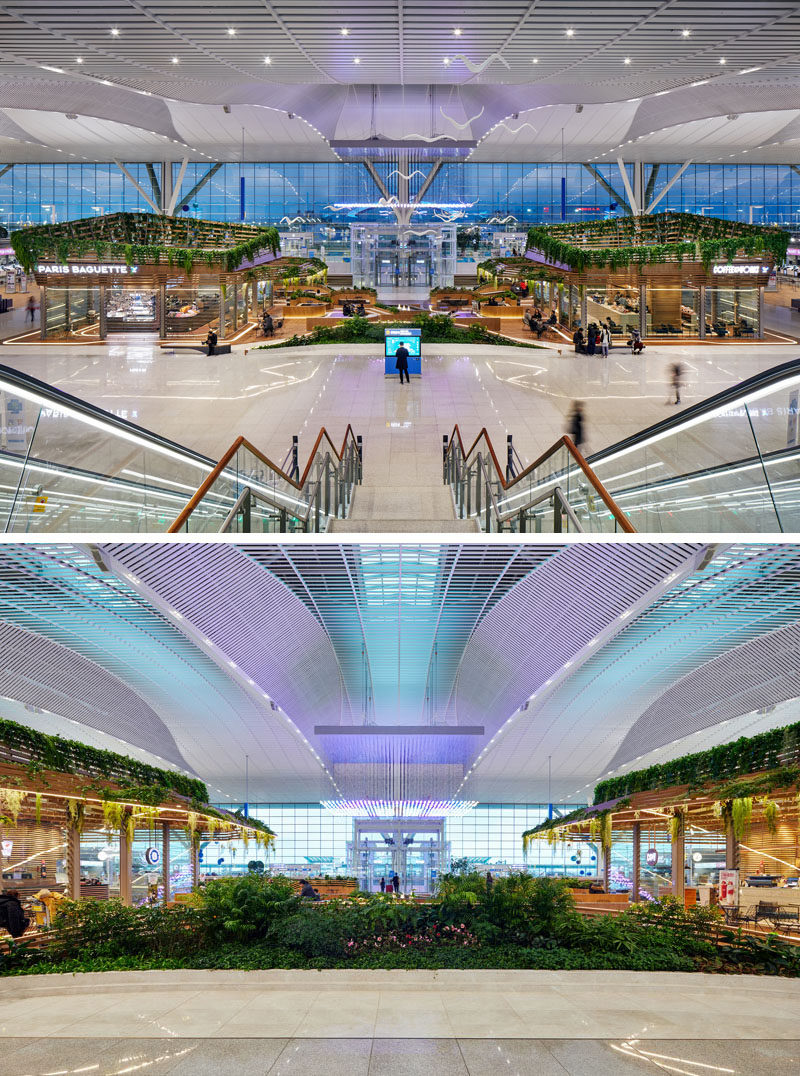 UNStudio have designed a pair of modern cafes within Incheon Aiport in South Korea, that feature wood and glass exteriors, lots of plants, and curved seating areas that connect the two locations. #Cafe #Retail #Architecture #Landscaping