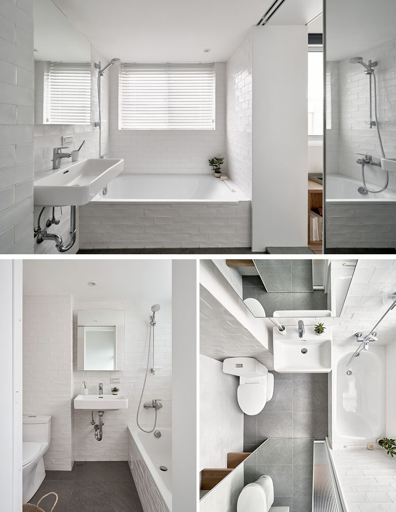 In this modern bathroom, there's a bath/shower combo on one side of the vanity, and on the other is the toilet and some open shelving. By using white walls on the walls, it helps to keep the small space bright, making it feel larger than it is. #ModernBathroom #SmallBathroom #WhiteBathroom