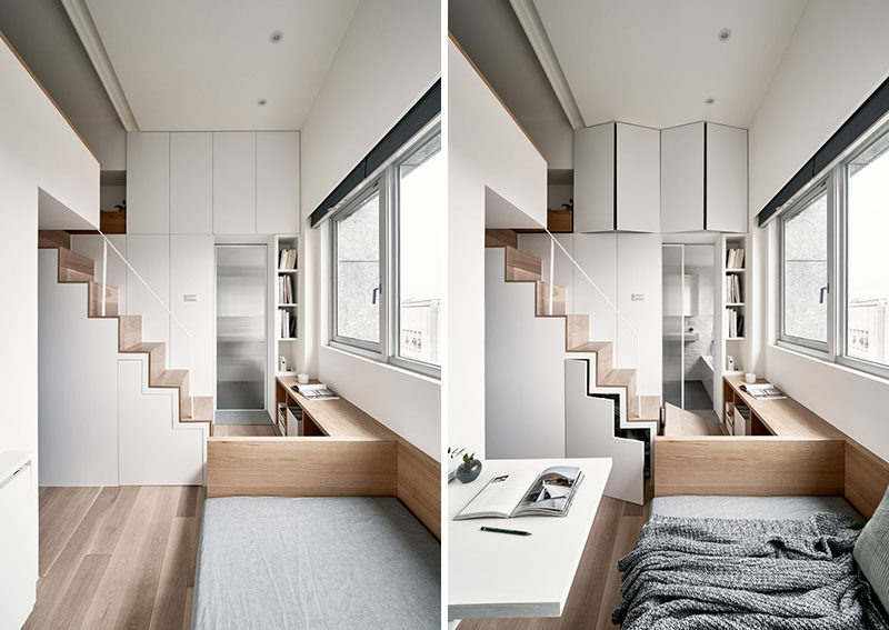 Storage is hidden throughout this tiny apartment, like cupboards above the door to the bathroom, and underneath the stairs. #Storage #TinyLiving #SmallApartment