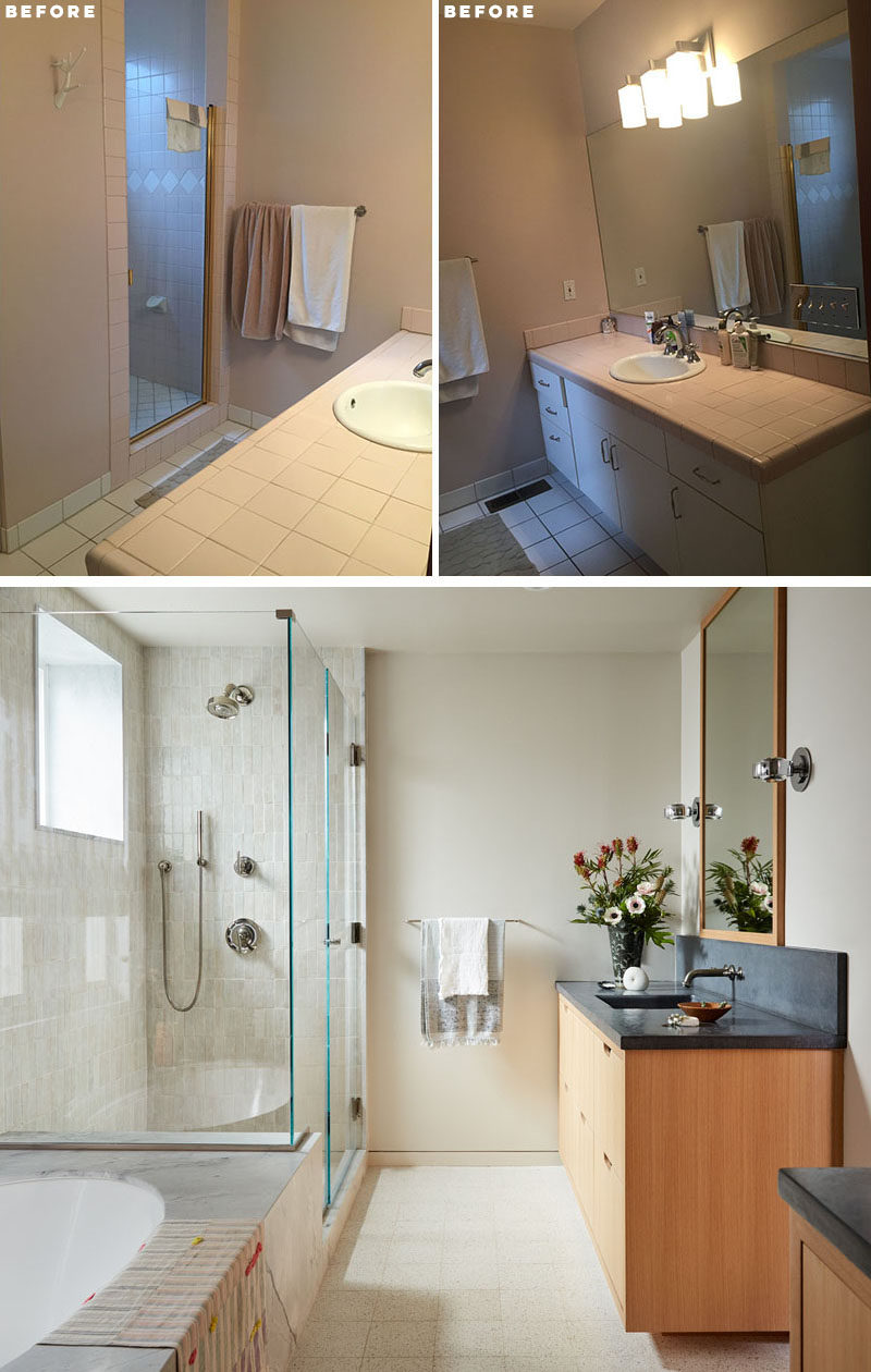 BEFORE + AFTER - BATHROOM - The original bathroom had limited natural light, was very closed in, and was out of date with current trends.#BathroomRemodel #BathroomRenovation #BathroomDesign