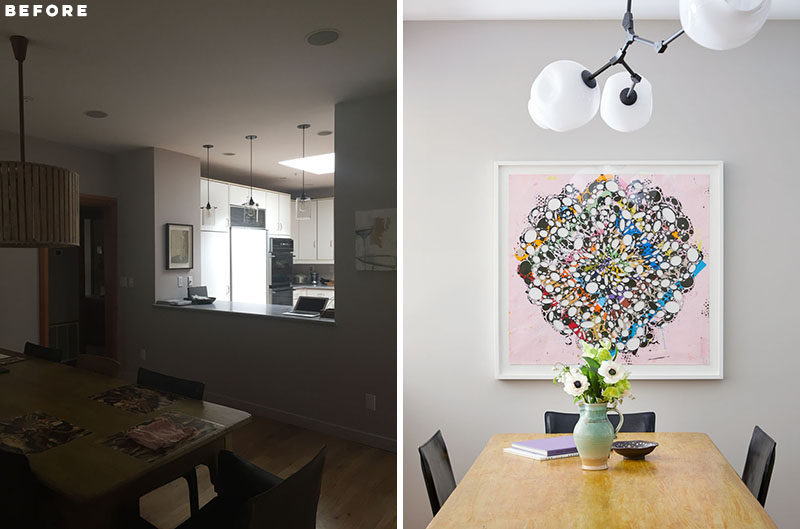 BEFORE + AFTER - DINING ROOM - A new chandelier and artwork add to the overall contemporary design of the interior. #DiningRoom