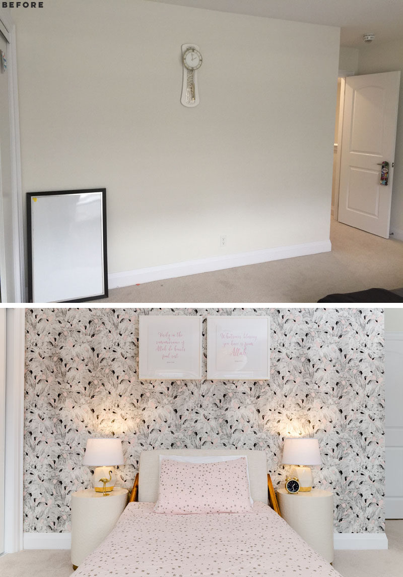 BEFORE & AFTER - In this modern girl's bedroom, flamingo accent wallpaper has been paired with a rich walnut wood bed frame, while hints of gold and pink lends a feminine yet very sophisticated look. #ModernGirlsBedroom #GirlsBedroom #InteriorDesign #BedroomDesign